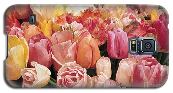 Galaxy S5 Case featuring the painting Nikki's Tulips by Tim Gilliland
