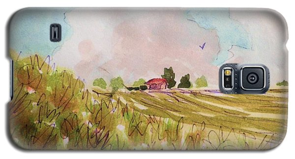 Galaxy S5 Case featuring the painting Nimbus Clouds And Farm by Suzanne McKay