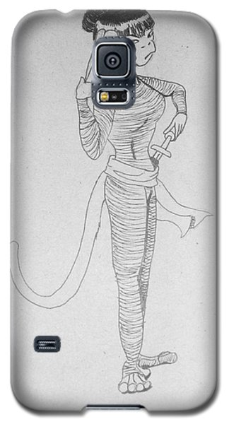 Galaxy S5 Case featuring the drawing Ninja Monkey by Wendy Coulson
