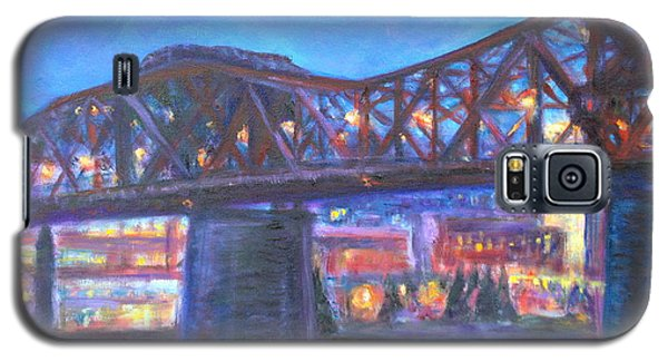 City At Night Downtown Evening Scene Original Contemporary Painting For Sale Galaxy S5 Case