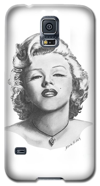 Galaxy S5 Case featuring the drawing Norma Jeane by Marianne NANA Betts