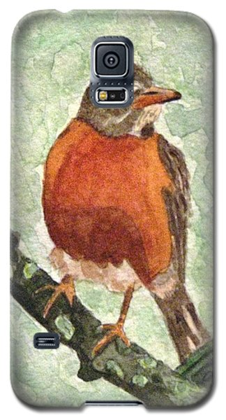Galaxy S5 Case featuring the painting North American Robin by Angela Davies