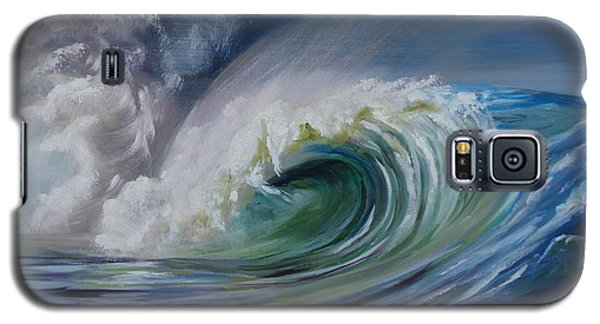 Galaxy S5 Case featuring the painting North Shore Curl by Donna Tuten