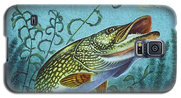 Galaxy S5 Case featuring the painting Northern Pike Spinner Bait by Jon Q Wright