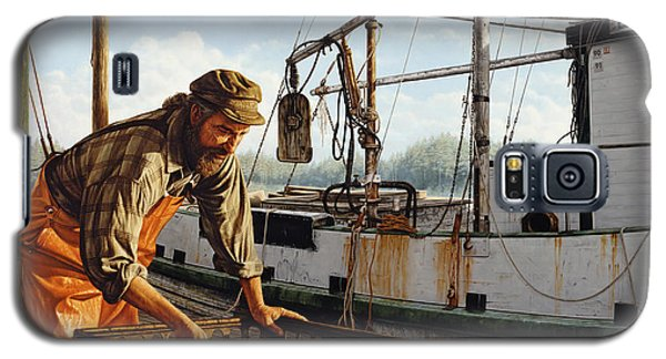 Galaxy S5 Case featuring the painting Northwest Fisherman by Ron Crabb