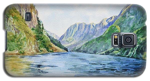 Galaxy S5 Case featuring the painting Norway Fjord by Irina Sztukowski