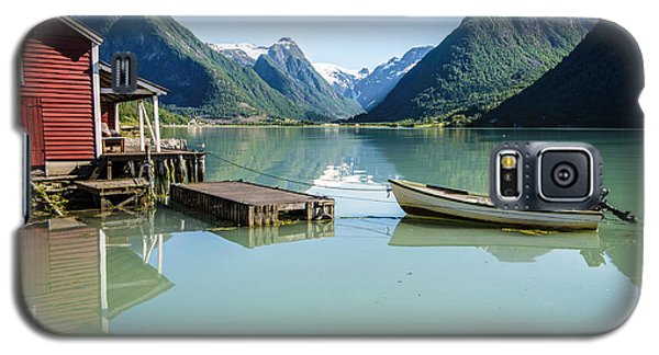 Reflection Of A Boat And A Boathouse In A Fjord In Norway Galaxy S5 Case