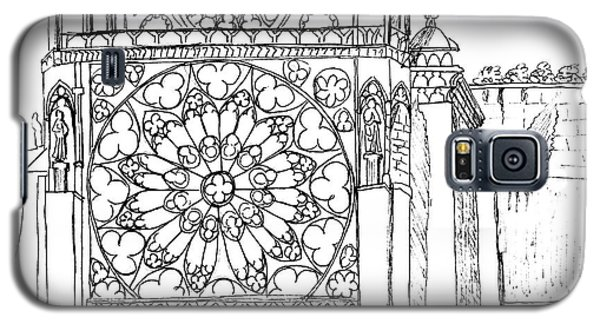 Galaxy S5 Case featuring the drawing Notre Dame Sketch by Mary Bedy