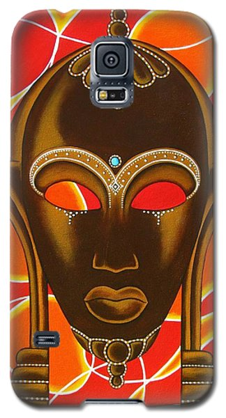 Nubian Modern Mask With Red And Orange Galaxy S5 Case by Joseph Sonday