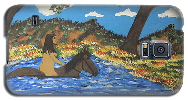Galaxy S5 Case featuring the painting Nude And Bareback Swim by Jeffrey Koss