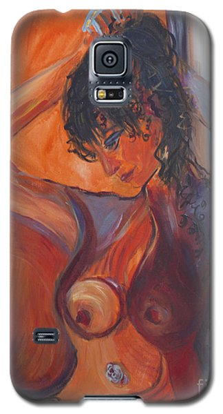 Galaxy S5 Case featuring the painting Nude Dressing by Avonelle Kelsey