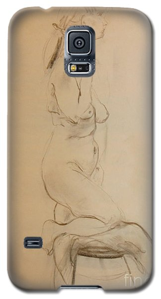 Galaxy S5 Case featuring the drawing Nude Kneels On Stool by Gabrielle Schertz