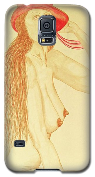 Nude With Red Hat Galaxy S5 Case by Rand Swift