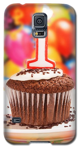 Galaxy S5 Case featuring the photograph Chocolate Cupcake With One Burning Candle by Vizual Studio