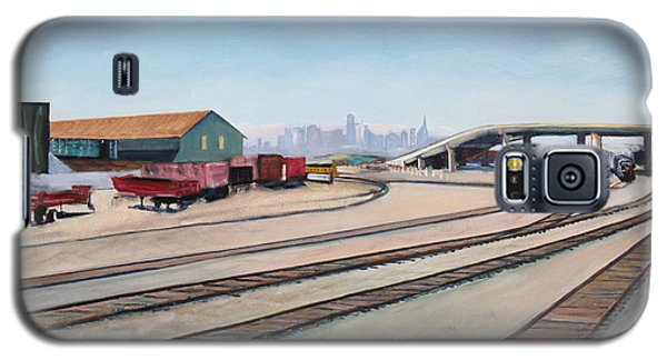 Galaxy S5 Case featuring the painting Oakland Train Tracks And San Francisco Skyline by Asha Carolyn Young
