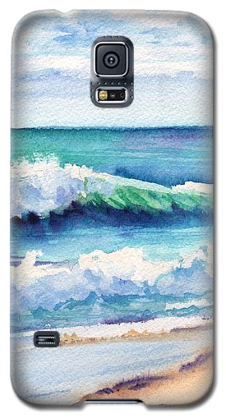Galaxy S5 Case featuring the painting Ocean Waves Of Kauai I by Marionette Taboniar