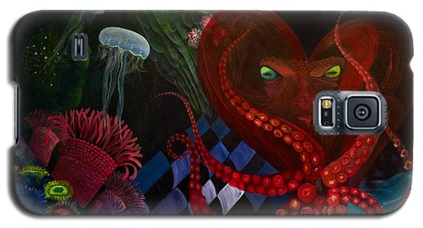Galaxy S5 Case featuring the painting Octopus Heart by Adria Trail