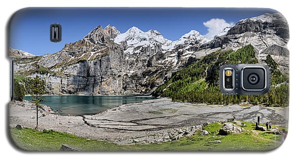 Galaxy S5 Case featuring the photograph Oeschinen Lake by Carsten Reisinger