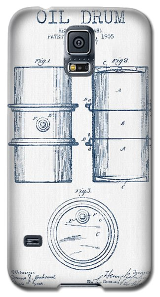 Drum Galaxy S5 Case - Oil Drum Patent Drawing From 1905 -  Blue Ink by Aged Pixel