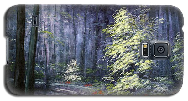 Galaxy S5 Case featuring the painting Oil Painting - Forest Light by Roena King