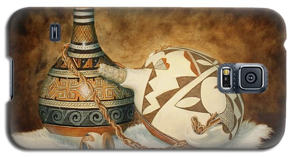 Galaxy S5 Case featuring the painting Oil Painting - Indian Pots by Roena King
