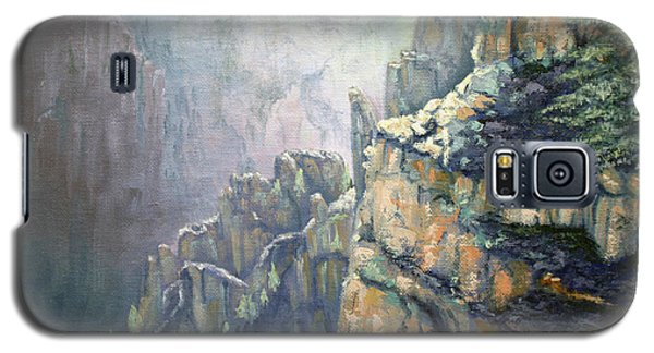 Galaxy S5 Case featuring the painting Oil Painting - Majestic Canyon by Roena King