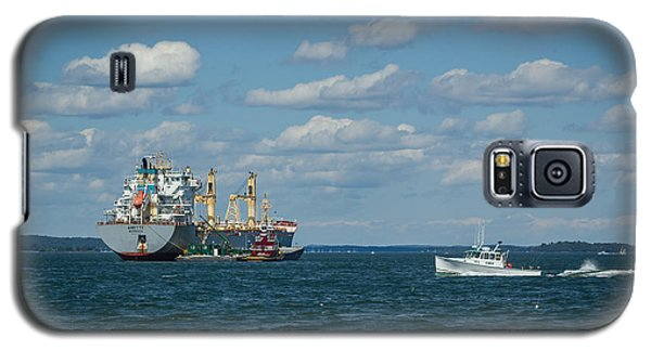 Galaxy S5 Case featuring the photograph Oil Tanker And Lobster Boat by Jane Luxton