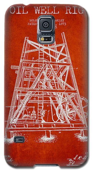 Oil Well Rig Patent From 1893 - Red Galaxy S5 Case by Aged Pixel