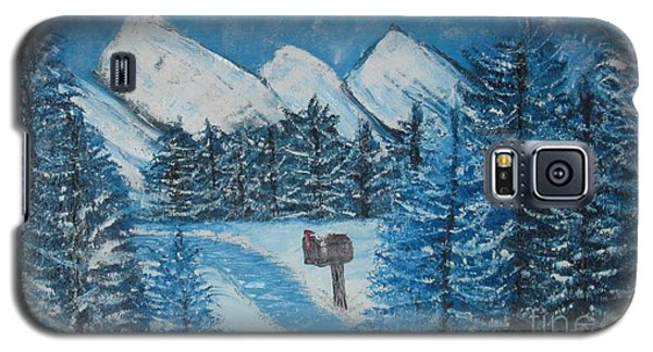 Galaxy S5 Case featuring the painting Oils On Canvas Blue Winter by Margaret Newcomb