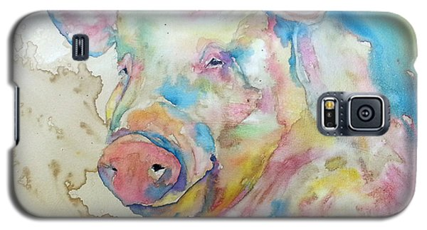 Galaxy S5 Case featuring the painting Oink by Christy  Freeman