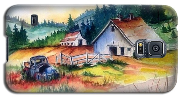 Galaxy S5 Case featuring the painting Old Barn And Truck by Richard Benson