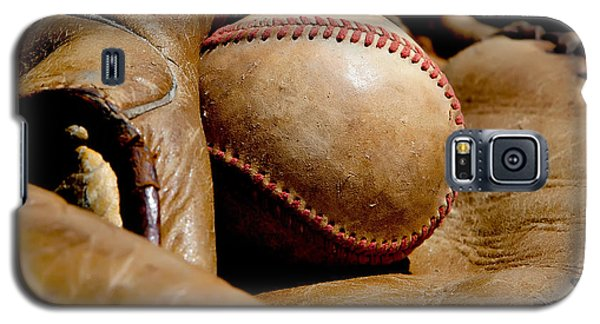 Old Baseball Ball And Gloves Galaxy S5 Case by Art Block Collections
