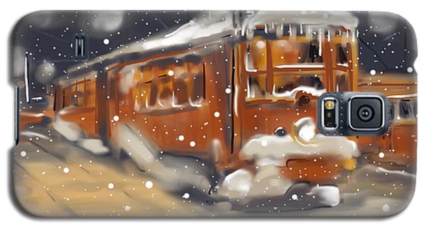 Old Boston Trolley In The Snow Galaxy S5 Case by Jean Pacheco Ravinski