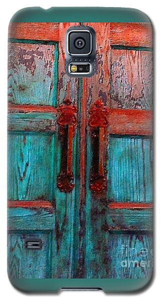 Galaxy S5 Case featuring the photograph Old Church Door Handles 1 by Becky Lupe