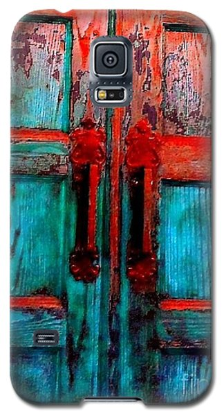 Galaxy S5 Case featuring the photograph Old Church Door Handles 2 by Becky Lupe