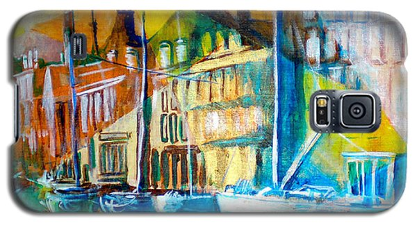 Galaxy S5 Case featuring the painting Old Copenhagen Thru Stained Glass by Seth Weaver