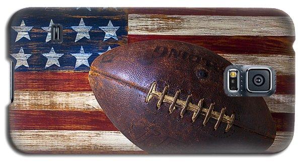 Sport Galaxy S5 Case - Old Football On American Flag by Garry Gay