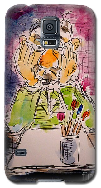 Galaxy S5 Case featuring the painting Old Geezer Grappling With A White Sheet Of Paper by Alfred Motzer