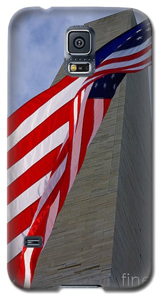 Galaxy S5 Case featuring the photograph Old Glory And The Washington Monument by John S