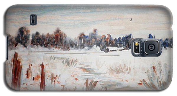 Galaxy S5 Case featuring the painting Old Homestead In Winter by Suzanne McKay