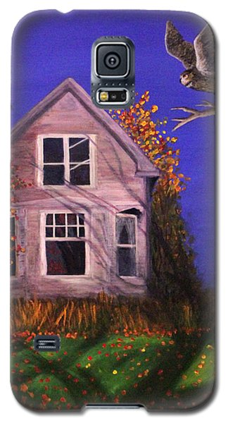 Galaxy S5 Case featuring the painting Old House And Owl by Janet Greer Sammons