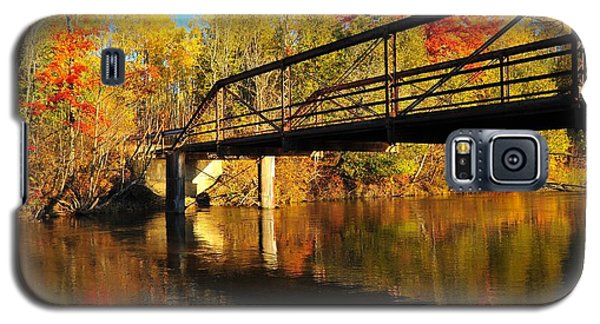 Galaxy S5 Case featuring the photograph Historic Harvey Bridge Over Manistee River In Wexford County Michigan by Terri Gostola