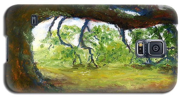 Galaxy S5 Case featuring the painting Old Louisiana Plantation Oak Tree by Lenora  De Lude