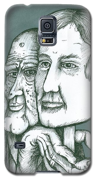 Galaxy S5 Case featuring the painting Old Man Behind A Young Mans Face by Richie Montgomery