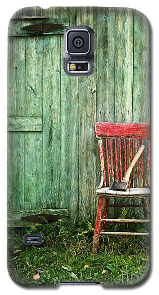 Old Red Chair Near A Barn/digital Oil Painting Galaxy S5 Case