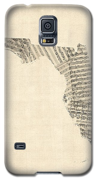 Old Sheet Music Map Of Florida Galaxy S5 Case by Michael Tompsett