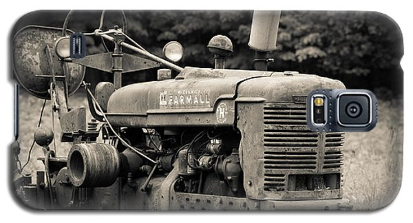 Old Tractor Black And White Square Galaxy S5 Case by Edward Fielding