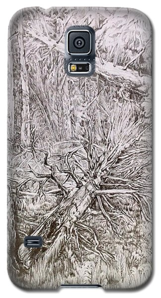 Galaxy S5 Case featuring the drawing Old Tree by Iya Carson