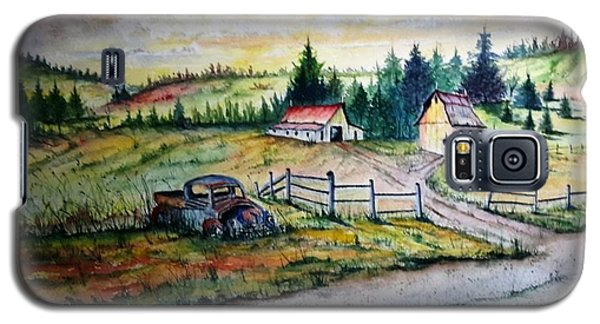 Galaxy S5 Case featuring the painting Old Truck And Barns by Richard Benson