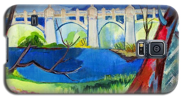 Galaxy S5 Case featuring the painting Old Western Gateway Bridge Schenectady To Scotia by Betty Pieper